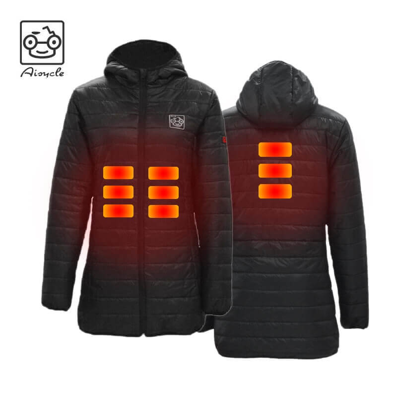No Battery Pack Women Heated Jacket USB Charged Windbreaker Coat with Detachable Hood